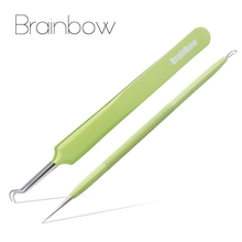 Brainbow 2pcs/Lot Blackhead Remover Tweezer Stainless Steel Acne Needle Blackhead&Blemish Removers Antibacterial Face Care Tools