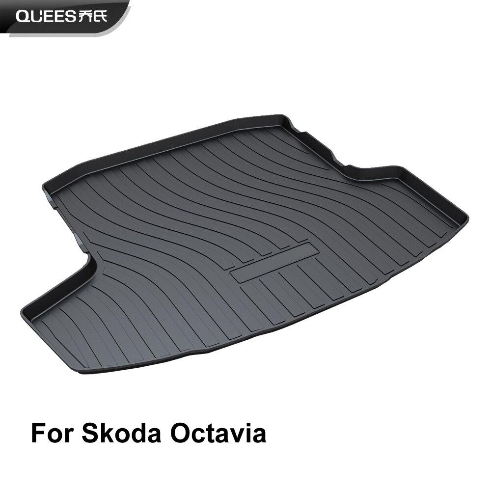 QUEES Custom Fit Cargo Liner Boot Tray Trunk Mat for Skoda Octavia Sedan Mk3 Don t