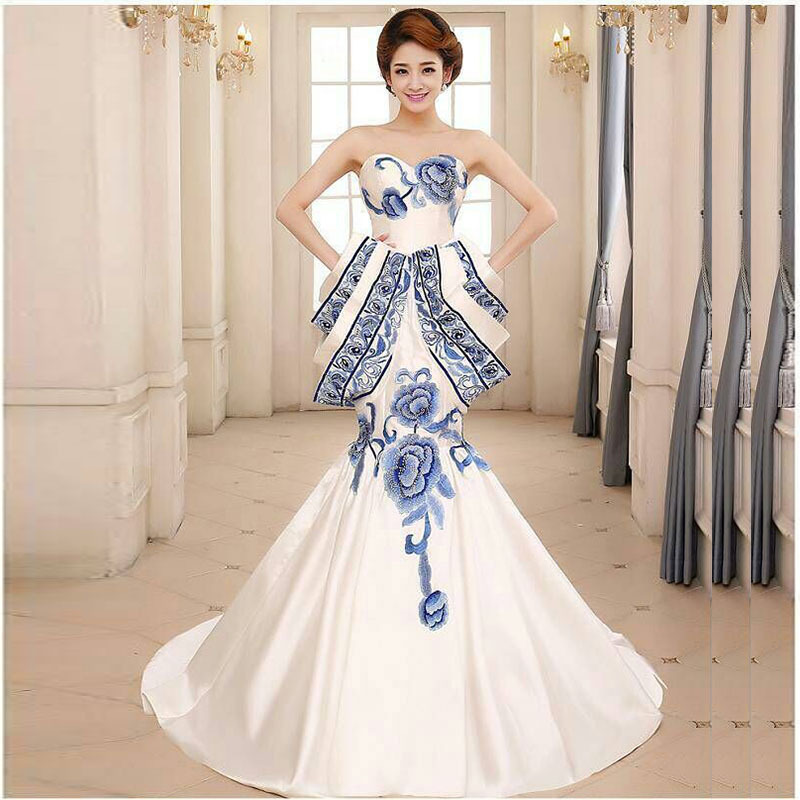 2016 Blue And White Porcelain Dress Luxury Long Evening Dress ...
