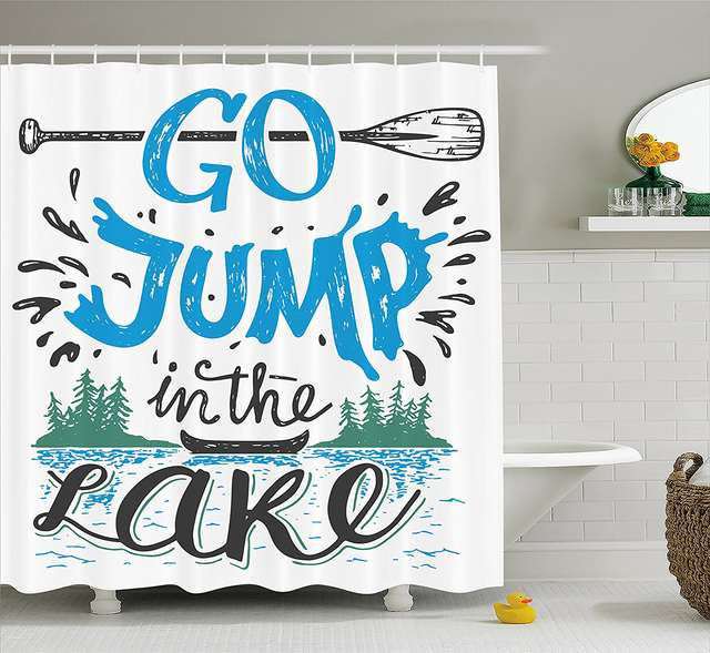 Online Shop Cabin Decor Shower Curtain Vintage Typography Inspiration Quote Lake Sign Canoe Fishing Sports Theme Set