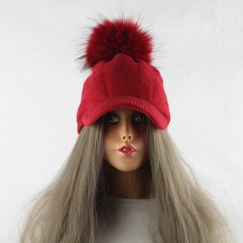 FURANDOWN 17 New Real Fur Pom pom Cap For Women Spring Autumn Baseball Cap With Raccoon Fur pompoms Brand Snapback Caps 11