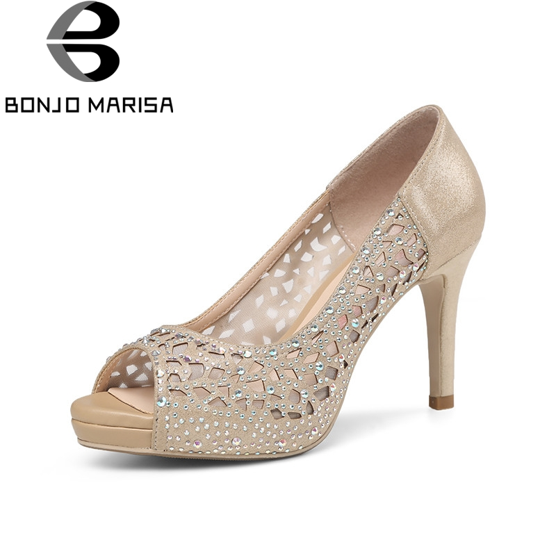 BONJOMARISA 2018 Summer Fashion Sexy Women Crystal Microfiber Pumps Platform High Heels Shallow Party Wedding Shoes
