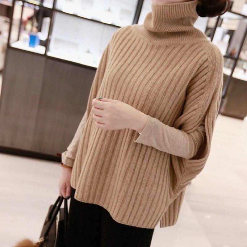 Automne et hiver nouveau haut de collier sans manches pull en cachemire femme paresseux épais en bas tricotés chandail pulloverBatwing Manches