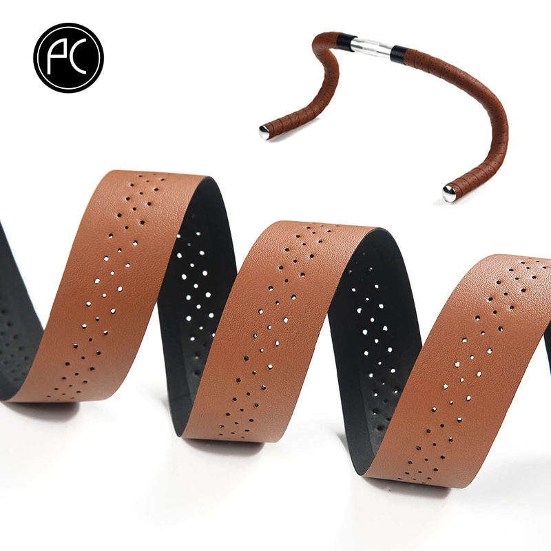 цена на PCycling Bicycle Handlebar Tape Road Bike PU Leather Perforated Belt Breathable Soft Bike Handlebar Tape MTB Fixed Gear Belt
