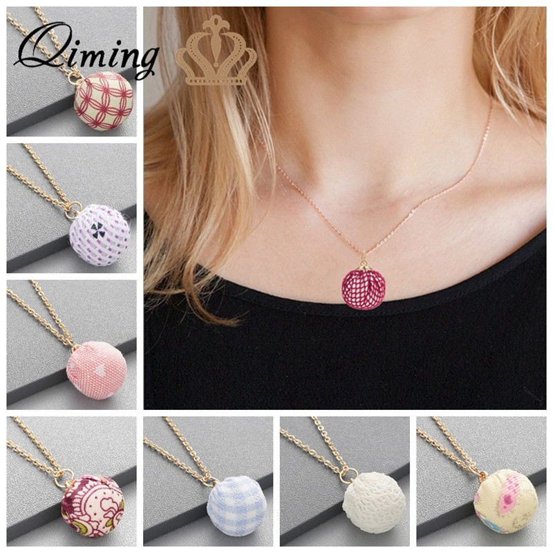QIMING Colorful Boho Statement Necklace For Women Sister Girls Birthday Gift Handmade Cloth Ball Pendant Friendship Necklaces