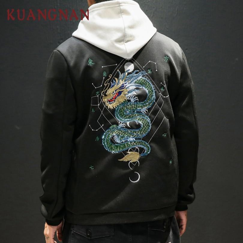KUANGNAN Chinese Dragon Embroidery Thick Jacket Men Fashions Hip Hop Streetwear Bomber Jacket Men Coat Men Jacket Coat 2018 New
