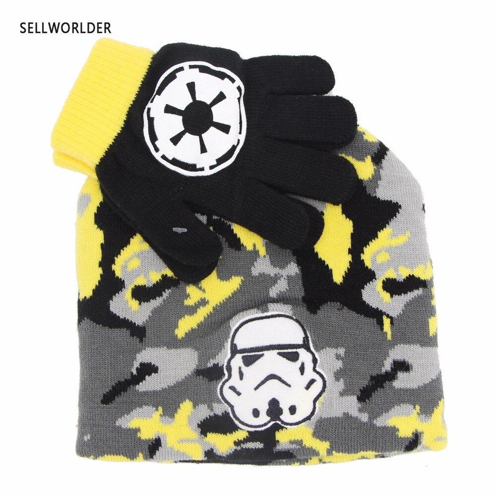 SELLWORLDER 2018 Kids  Winter Cartoon Character Stormtrooper 2pcs Set  Star War Hat & Glove Sets