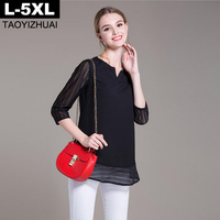 Women Blouses 2016 Autumn V Neck 3 4 Sleeve Chiffon Shirts Black Loose Elegant Ladies Tops