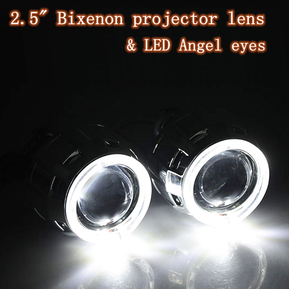 ФОТО Car styling 2.5 inches car bi xenon projector lens LED day running and dual doulbe cob angel eyes xenon H1 and H7 H4 base lens