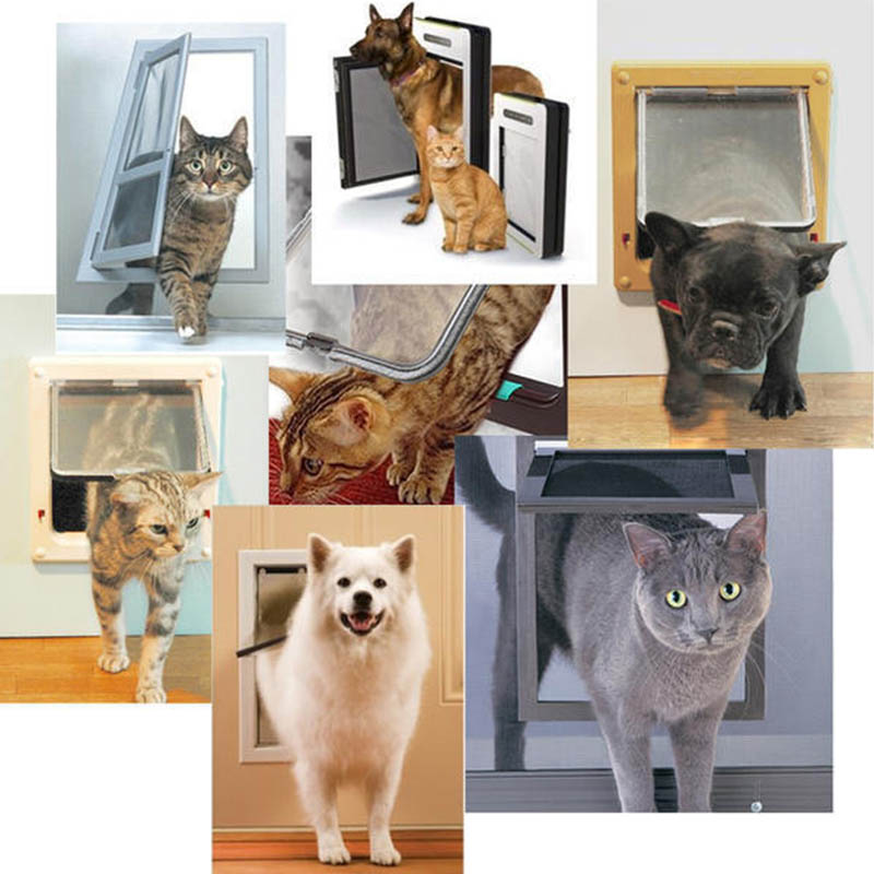 1 Pc Lockable 4 Way Abs Plastic S/m/l Dog Cat Kitten Door  Pet Safety Products Security Flap Doors Pet Gate