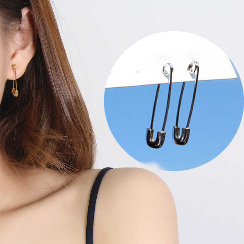 2019 New Minimalist Unisex Gold Silver Color Pin Stud Earrings Women's Cool Safety Pin Earring Hip Hop Stud Earring
