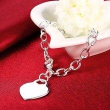Famos Brand Classic Heart Pendant Crystal Bracelets Bangles Love heart tag TIF Charm 925 logo silver plated Chain Women Bracelet