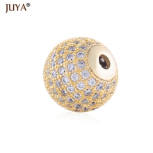jewelry findings components luxury cubic zirconia crystal round / crown beads for diy fashion bracelets necklace accessories