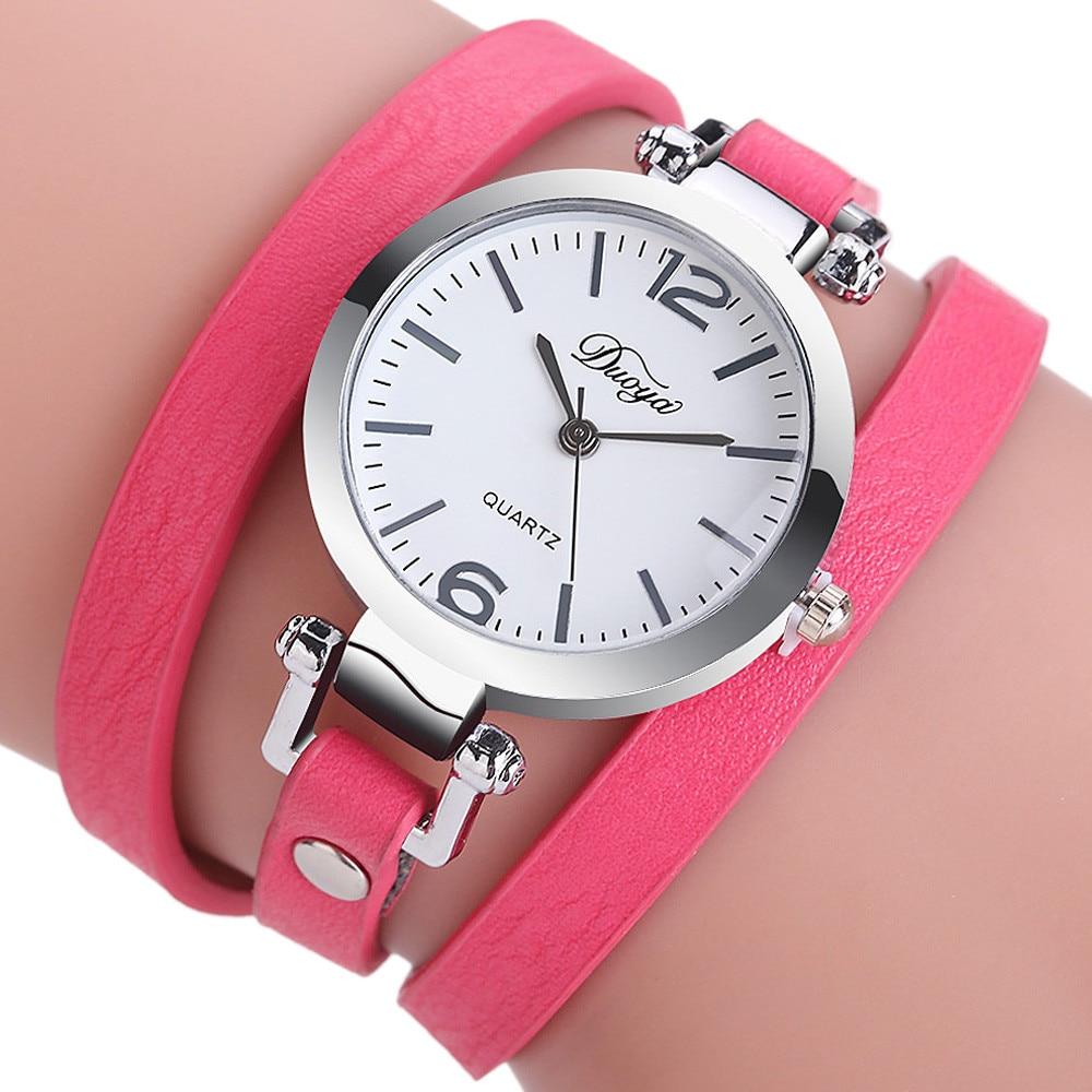 c159dc6d69b Duoya Mulheres Senhoras Pulseira de Relógios Analógicos Quartz Círculo de  Diamante Pulseira De Couro Relógio Vestido Relógio Estudante Mesa Moda  Feminina em ...