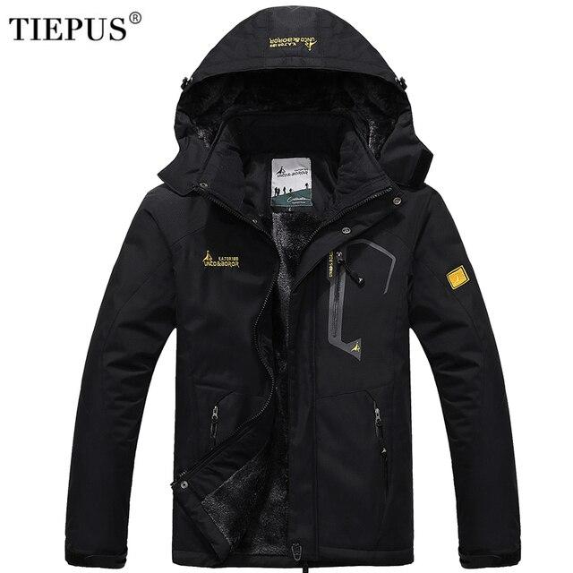 TIEPUS winter jacket men's plus wool thermal jacket Waterproof Windproof  men`s Hooded  Outwear  men`s Down Parka size L-5XL 6XL