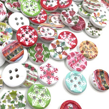 100pcs 15mmAssorted Christmas Wooden Button Lot Craft Card Embellish WB424