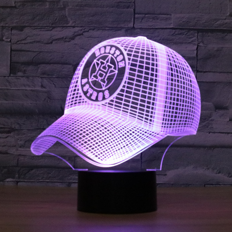 8070 Houston Astros Baseball Cap Hat 3D LED Lamp Atmosphere lamp 7 Color  Changing Visual illusion LED Decor Lamp e40e08a6afd