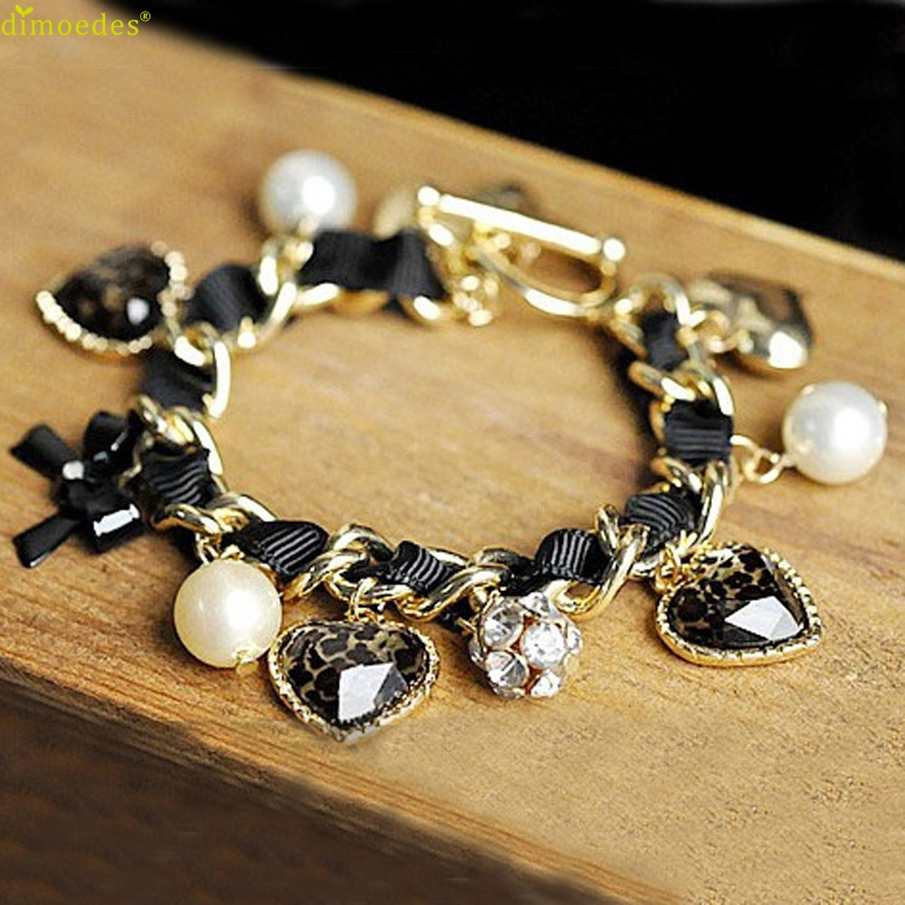 Diomedes Newest New Girl Favorites Leopard Heart Diamante Bow Bracelets Jewelry Gift Popular Casual Bracelet