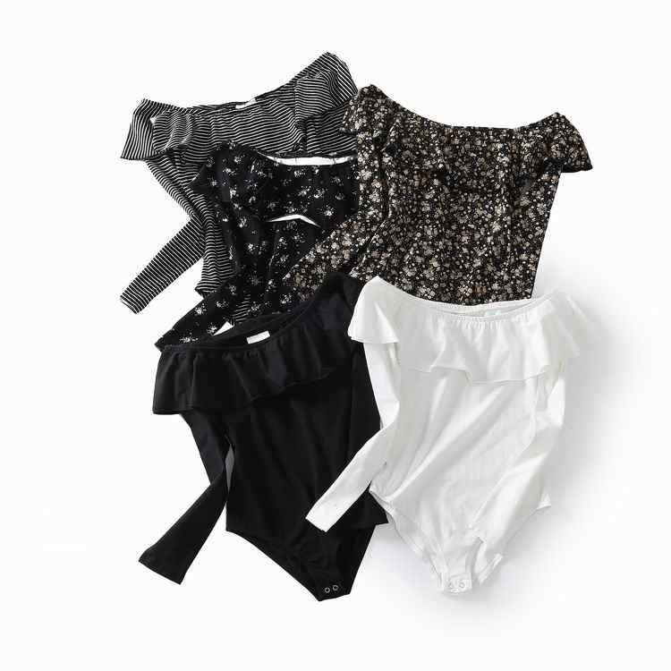 Весенние Новые Модные женские тонкие боди с вырезом лодочкой и длинными рукавами