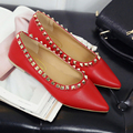 Rivets Women Shoes Slip On Flat Shoes Women Pointed Toe Brand Leather Ballerina Flats Fashion 2016 Casual Comfort Ladies Shoes