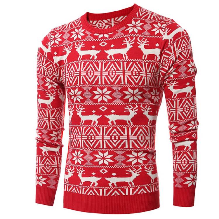MarKyi 2017 winter deer pattern sweater men slim fit long sleeve mens sweaters pullover men casual size 2xl