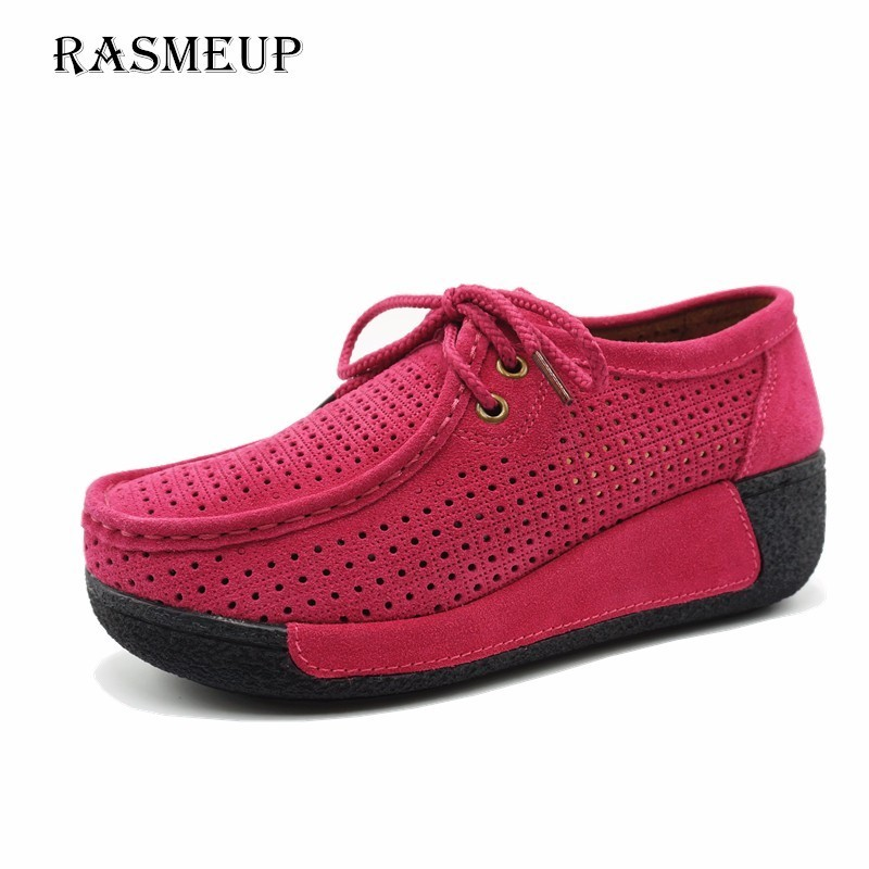 RASMEUP Genuine   Suede     Leather   Women's Platform Sneakers 2018 Lace Up Women Flats Moccasins Creepers Slipony Woman Casual Shoes