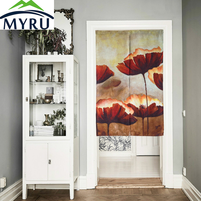MYRU Pale Lotus Cotton Door Curtains Red Lotus Restaurant