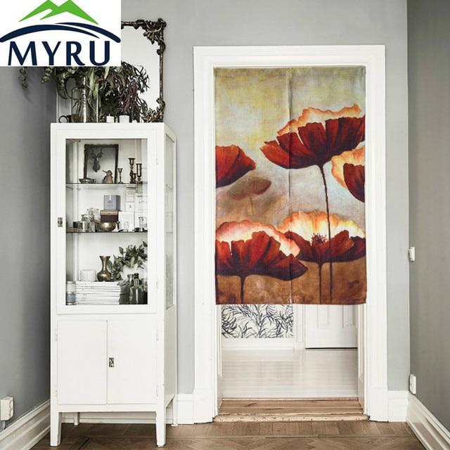 MYRU Pale Lotus Cotton Door Curtains Red Lotus Restaurant Kitchen Half Curtain Chinese Japanese Feng Shui Door Curtain