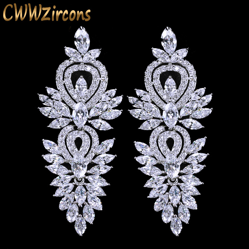 CWWZircons Vintage Wedding Party Jewelry Aksesoris Cantik Cubic Zirconia Big Panjang Luxury Bridal Earring untuk Wanita CZ309