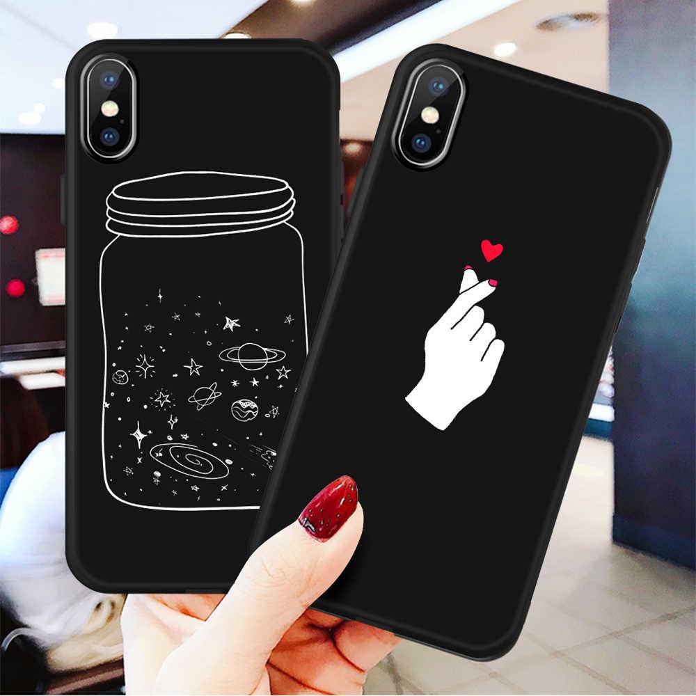 3D リリーフ電話ケース iphone 6 6s 7 8 プラス X 5 5s 、 se カバーかわいい漫画愛ハートソフト TPU 黒キャパ iphone 8 XR XS 最大