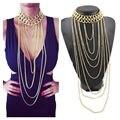 Cirgen mulheres moda declaração chunky banhado a ouro bijoux multi camada cadeia corpo longo tassel choker colar jóias collar, b89