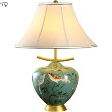 Ceramic European-style Table Lamp E27 Led Lustre Luxury Beautiful Retro Cloth Art Bedroom Bedside Living Room Study Hand-painted недорого