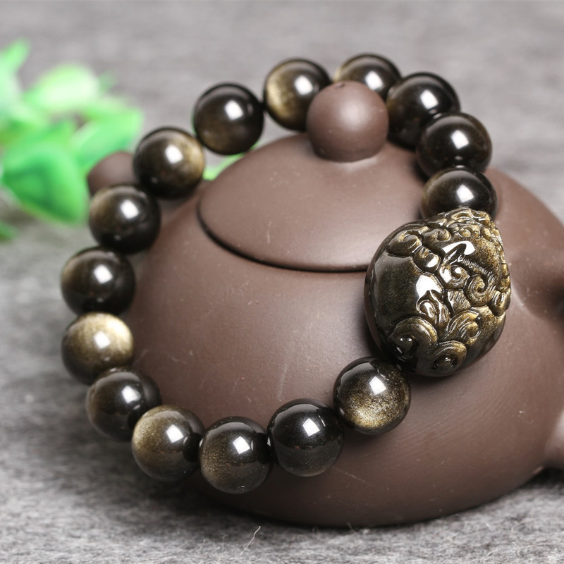 Natural Gold Obsidian Stone Bracelet Carved Pixiu Round Beads Bracelet Bangles Gift for Men's Stone Jades Jewelry