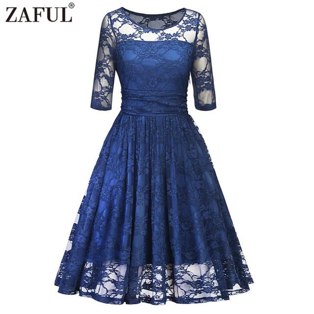 ZAFUL Elegant Blue Lace Vintage Dress 2018 Party Vestidos Round Neck ...