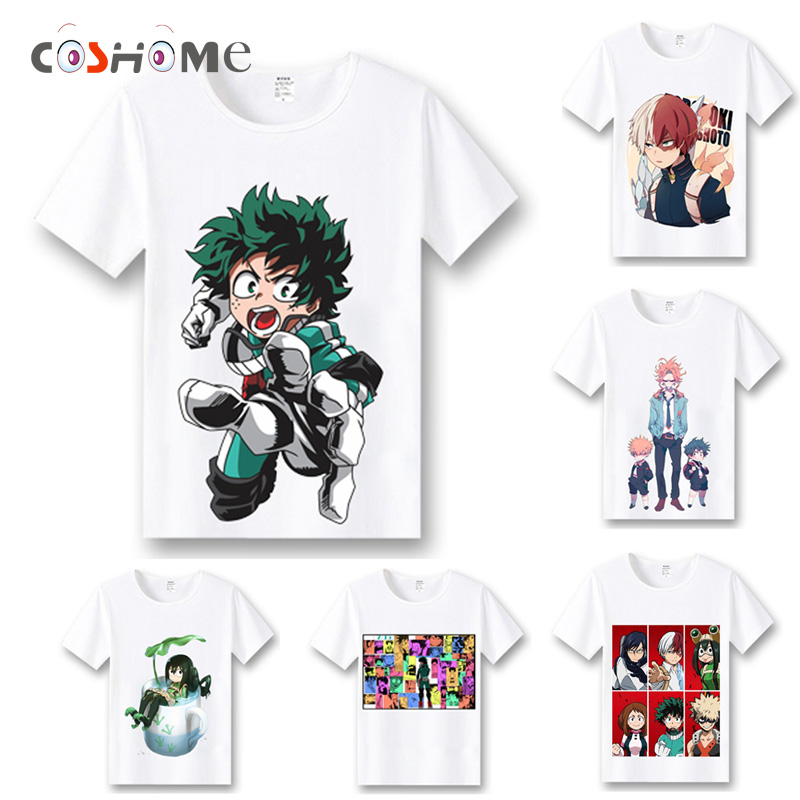 Coshome Boku No Hero Academia T-shirts Cosplay Costumes My Hero Academia T shirts Izuku Midoriya Men Women Short Sleeves Tops