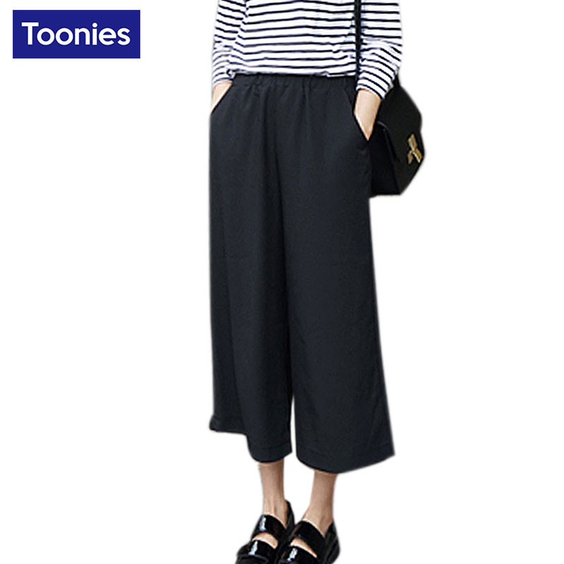 Spring High Waist Chiffon Wide Leg Pants Korean Loose S-2XL Slim Casual Ankle-length Pant Black Blue Solid All-match Trousers