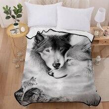 Manta para amantes de los adolescentes, manta polar 3D con estampado Digital de Lobo, color negro/gris, Sherpa negra, para niños y niñas, 150x200cm