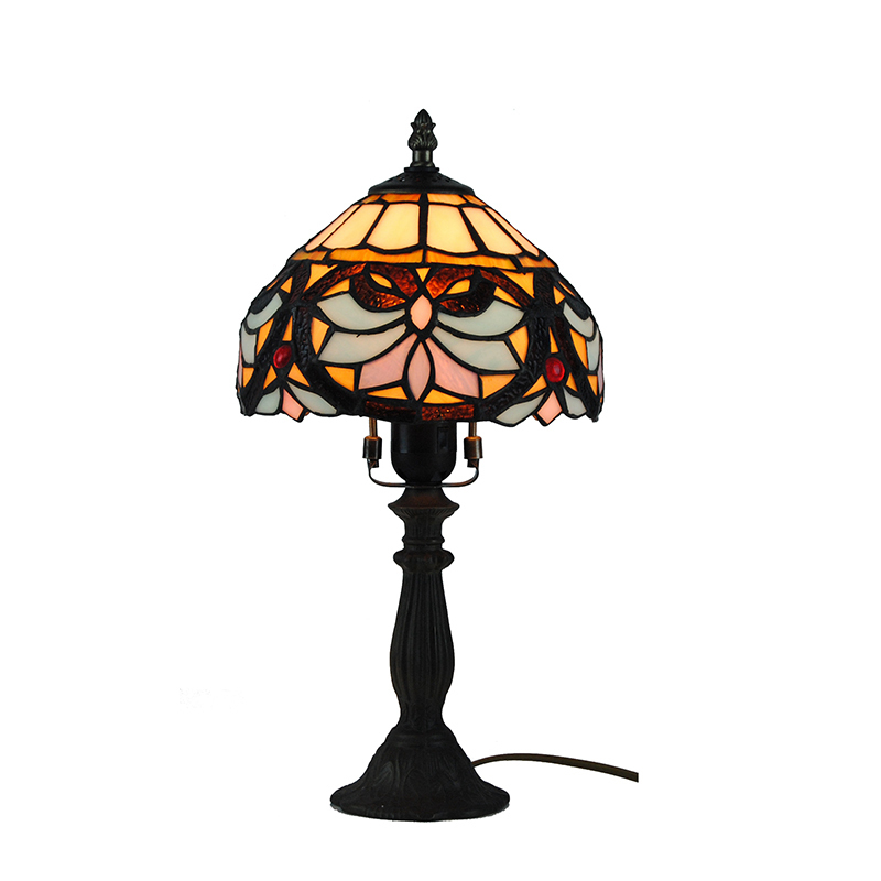 1 Light European Retro Stained Glass Table Lamp Classic Tiffany Style Floral Pattern Metal Base Desk Lamps Home Decoration TL166