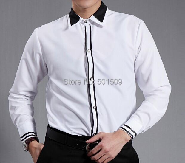 Envío gratis raya blanca decoración de cuello negro de mens smoking camisetas camisas del partido/evento/fiesta shirts