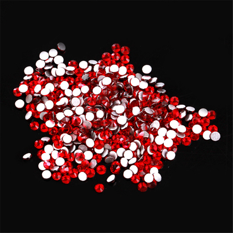 High Quality Mix Sizes 1Pack Crystal Siam Non Hotfix Flatback Rhinestones Nail Rhinestones For Nails 3D Nail Art Decoration Gems in Rhinestones Decorations from Beauty Health