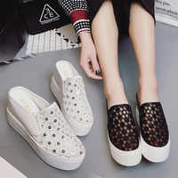 With Rhinestones Modis Female Brief Flat Leather Clogs Platform Closed Toe Rubber Slippers Med Parkside Air Mesh New 2019