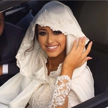 High Quality Bridal Cap Wedding Gown Jacket Long Embroidery Satin Robe Islamic Hijab Wedding Dress