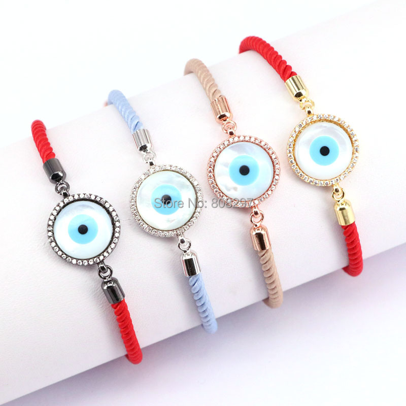 10PCS Round Micro Pave CZ Blue Eye Mother of Pearl Cotton Rope Adjustable Charm Bracelet