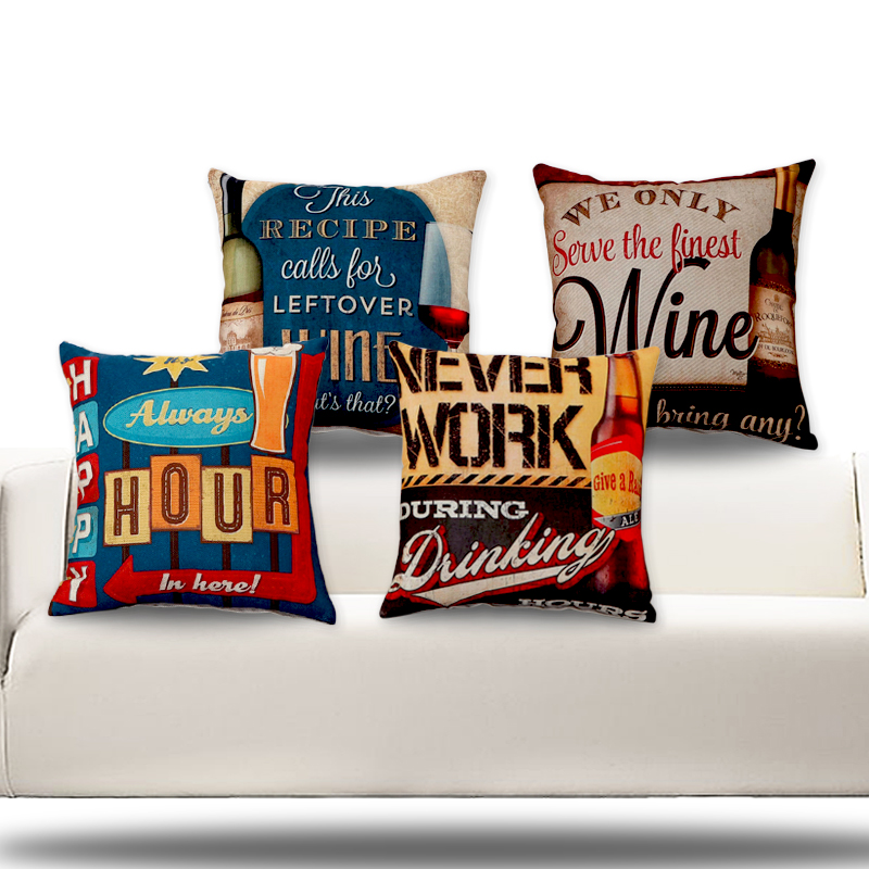 RUBIHOME (4pieces/lot)Happy Bar Wine Drinking Desgin Cushion Covers Pillow Cover Decorative for KTV Discotheque Sofa Pub Decor