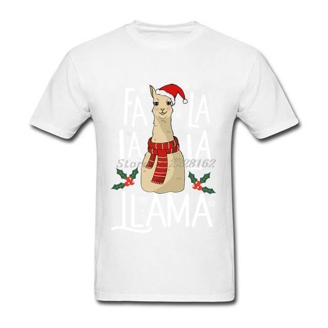 Llama Christmas Shirt.Cartoon T Shirt Men Black Camisetas Fa La La La Llama Christmas Tee Shirt Plus Size