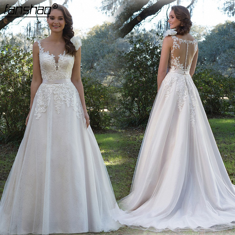 Simple Lace A Line Wedding Dress Tank Sleeveless Illusion Back Bridal Gown Vestido De Noiva