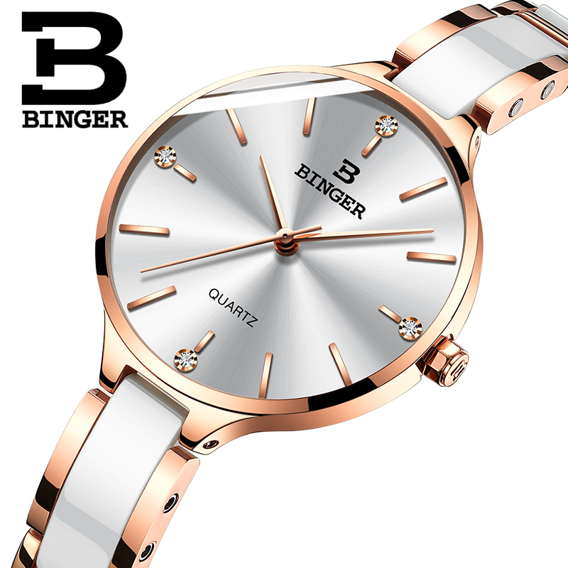 Image 2 - Switzerland Binger Ceramic Quartz Watch Women Casual Luxury Brand Wristwatches Gift Bracelet Relogio Feminino Montre Relogio-in Women's Watches from Watches