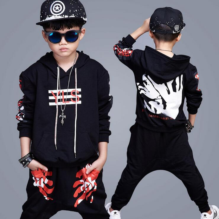 2018 New Kids Teenage Boys Clothing Sets Hip Hop Dancing Sports Tracksuits Hoodies Tops + Harem Pants Boys Sping Autumn Outfits wholesale new fashion autumn casual sport suits tracksuits for kids gold chain printing hip hop outwear boys clothing sets