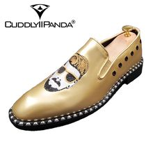 CUDDLYIIPANDA Men Punk Style Fashion Loafers Rock Rivet Top Quality Comfortable Breathable Men Superstar Shoes Men Casual Shoes