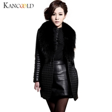 2017 FashionWomen Winter Faux Leather Fur Long Sleeve Coat Jacket Outerwear Long Overcoat Dropshipping July0725